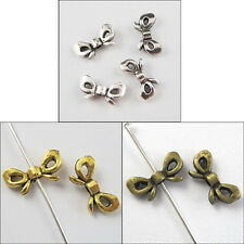 100Pcs Antiqued Silver Gold Bronze Tone Butterfly-Bow Spacer Beads Charms 6x12mm