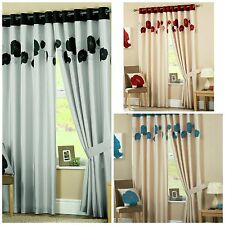 Curtina Danielle Faux Silk Lined Poppy Curtains Pair Eyelet Ring Top Ready Made