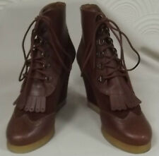 BNWOB SANDRO ADAGE ANKLE BOOTS RRP £300+ SUEDE/LTHR WEDGED BROWN SIZE UK5/6/6.5
