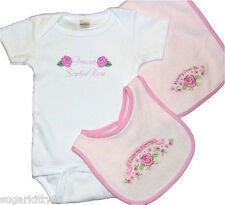 Personalized Baby Girl Onez Bib & Burp I Love Mommy-Pink Rose Design Free Ship