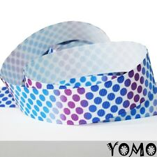 """7/8""""22mm Blue Dots Printed Grosgrain Ribbon 10/50/100 Yards Hairbow Wholesale"""
