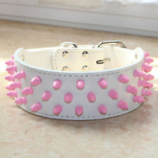 White Leather Pink Spikes&Studs Dog Collar Pitbull Bully Terrier Pet Collar S-XL
