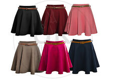 LADIES WOMENS BELTED SKATER FLARED JERSEY SEXY PARTY DRESS PLAIN MINI SKIRT 8-14