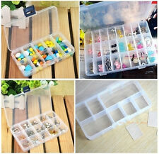 Plastic Adjustable Storage Box Ornament Jewelry Case Tool Container Small Grids