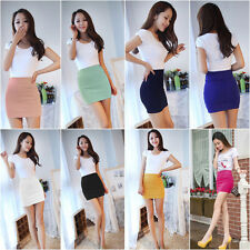 11 Candy Colors Sexy Women Mini Skirt Slim Seamless Stretch Tight Short Fitted