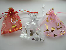 Organza Hearts Wedding Favours Jewellery Packaging Gift Party Candy Bags Pouches