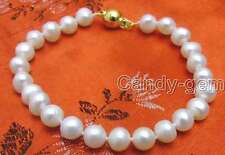 "SALE Super Luster 7-8mm natural white freshwater  Pearl 7.5"" bracelet-bra233"