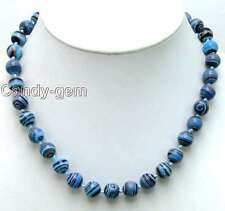 """SALE Charming Big 6mm Blue peacock stripe Round agate beads 17"""" necklace-nec5634"""