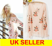 Celebrity Oversized Rose Print Kintwear Slouchy Knitted Chunky Jumper