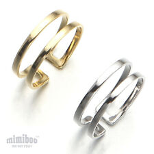 Shiny Polished Two 2 Lines Bouble Row Open Band Ring Brass Adjustable Size