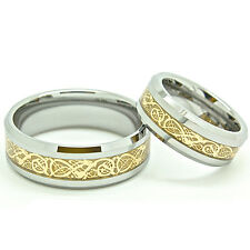 Matching Ring Set - 7mm & 8mm Gold Plated Celtic Dragon Inlay His & Her Rings