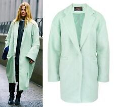 Vogue Ada Kokosar Mint Green Blue Aqua Cocoon Oversize Loose Wool Coat Lapel