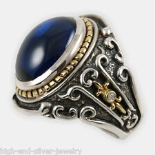 Baron Ring w/ Diamonds Blue or Red Corundum & 18K Gold Accent on Sterling Silver