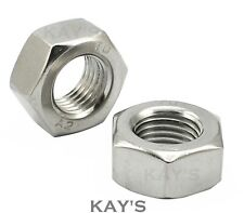 """10, 1/4, 5/16, 3/8, 7/16, 1/2"""" Imperial UNF A2 Stainless Steel Hexagon Full Nuts"""