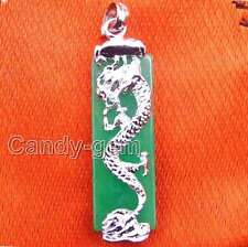 Genuine Big 10*30mm oblong natural Green Jade dragon silver S925 pendant-pen216