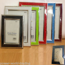 PICTURE PHOTO FRAME MODERN GLOSSY HANGING DESKTOP GLASS FRONT SILVER PLATE STRIP