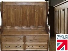 Solid Pine Storage Bench,4ft High Settle with Lifting Lid Shoe Storage & Drawers
