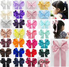 New Large Handmade Girls Ribbon Ponytail Hair Bow Clips Barrettes Accessories