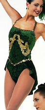 Feelin' Good Dance Costume w/ Gold Sequins Jazz Tap Ice Skating