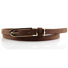 New Women's Lady PU Leather Skinny Thin Narrow Buckle Waist Belt Waistband Strap