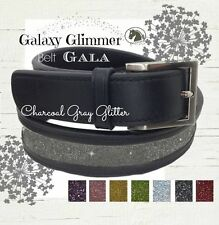 Cool Belts - Charcoal Gray Sparkle Bling Belt   Woman's Black Equestrian Leather