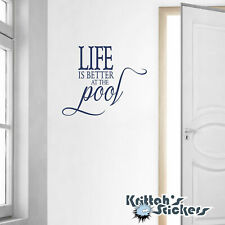 Life is Better at the Pool Vinyl Wall Decal Quote home design decor sticker L095