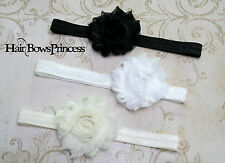 Baby Lot huge 3 Baby Headbands Chiffon Flower Hair Bow black, white, ivory