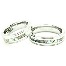 Matching Ring Set - 6mm Abalone Shell Inlay Tungsten Designer Wedding Bands