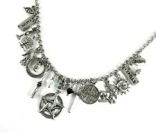 Wiccan Goddess Silver Charms Necklace Crystal Ball Tarot Pentagram 4 elements