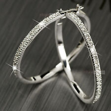 18K gold GP swarovski crystal square hoop earrings bling bling sparkling new