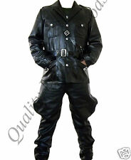 100% Genuine Leather WW 2 German Tunic & Breeches Trousers Uniform Military Coat