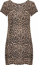 New Womens Plus Size Animal Leopard Print Short Sleeve Ladies T-Shirt Top 14-28
