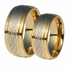 Matching Rings - 9mm Gold Plated Celtic Tungsten His & Her Rings Sizes 4-16