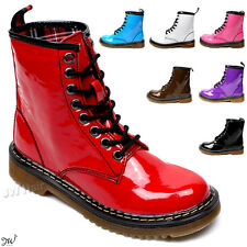 Women Ankle Enamel Patent Eye Boots Lace Up Classic Winter Shoes