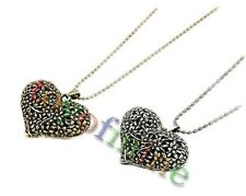 Girl Retro Vintage Hollow Carved Peach Heart Pendant Sweater Long Chain Necklace