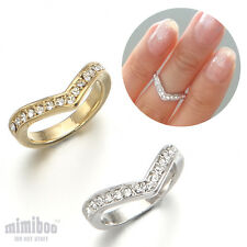 Crystals V Shaped Top of Finger Over The Midi Tip Finger Above The Knuckle Ring