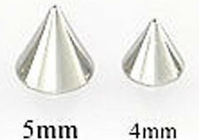 4 (FOUR) 14 GA THREADED REPLACEMENT STAINLESS STEEL CONES / SPIKES 4MM OR 5MM