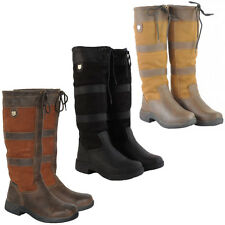 Ladies Mens Dublin Riding Winter Walking Wellies Long Leather Country Boots 3-11