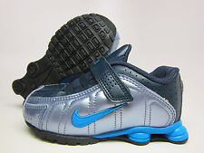 NEW NIKE BABY SHOX R4 SMS TODDLERS  [585599-440]  ARMORY NAVY//BL HR-PEBBLE GREY