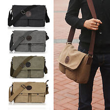 Men's Vintage Canvas Leather Shoulder Bag Messenger Bag School Military Bag #047