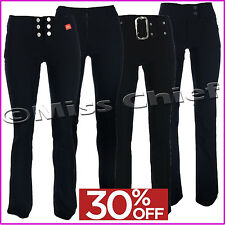 Girls School Ladies Trousers Womens Stretch Hipster Black Navy Miss Chief