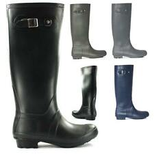 Womens Fashion Knee-High Rubber Rain Boot Buckle Bamboo Padinton-01 Black & More