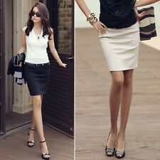 Bodycon Ladies Office Corporate Work Formal Pencil Skirt Apricot/Black