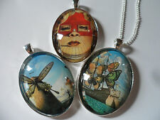Salvador Dali Surreal Painting Pendant Necklace,Choice of setting and design