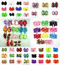 Baby Girl Toddlers Costume Grosgrain Ribbon Boutique Hair Bows Flowers Clips
