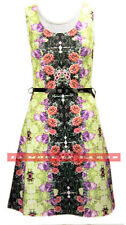 H39 NEW WOMENS LADIES FLORAL PRINT FLARED TAILORED SKATER DRESS IN SIZE 08-14