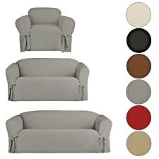 MICRO SUEDE SLIPCOVER SOFA LOVESEAT CHAIR FURNITURE COVER, BROWN BLACK TAUPE