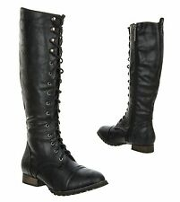 New Women's Knee High Fashion Military Combat Lace Up Zipper OUTLAW-13 BLACK