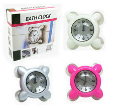 NEW Shower Bath Wall Clock Waterproof Suction for Glass Tile Kitchen Bathroom