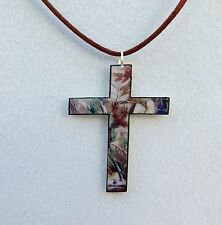 real tree ap camo camouflage pendant necklace hunters cross can go/w mossy oak